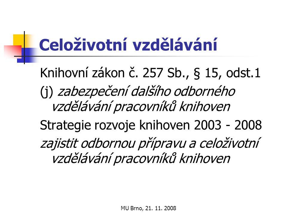 MU Brno, 21. 11. 2008 Celoživotní vzdělávání Knihovní zákon č.