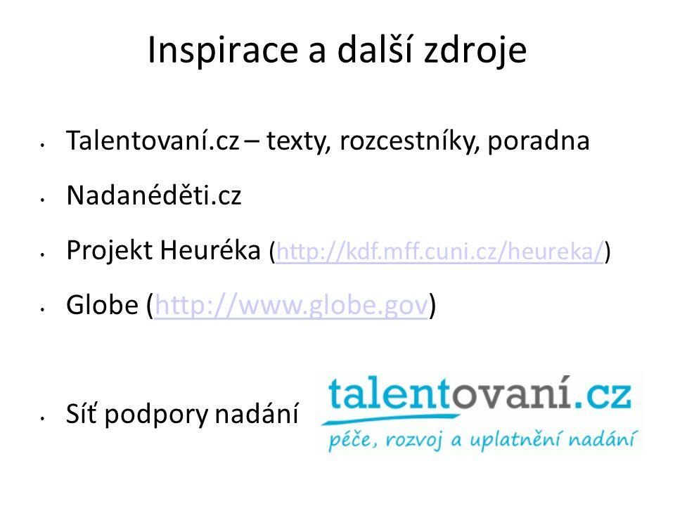 Inspirace a další zdroje Talentovaní.cz – texty, rozcestníky, poradna Nadanéděti.cz Projekt Heuréka (http://kdf.mff.cuni.cz/heureka/)http://kdf.mff.cuni.cz/heureka/ Globe (http://www.globe.gov)http://www.globe.gov Síť podpory nadání