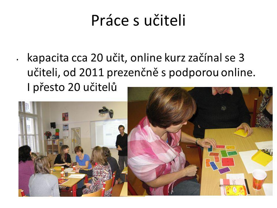 Práce s učiteli kapacita cca 20 učit, online kurz začínal se 3 učiteli, od 2011 prezenčně s podporou online.