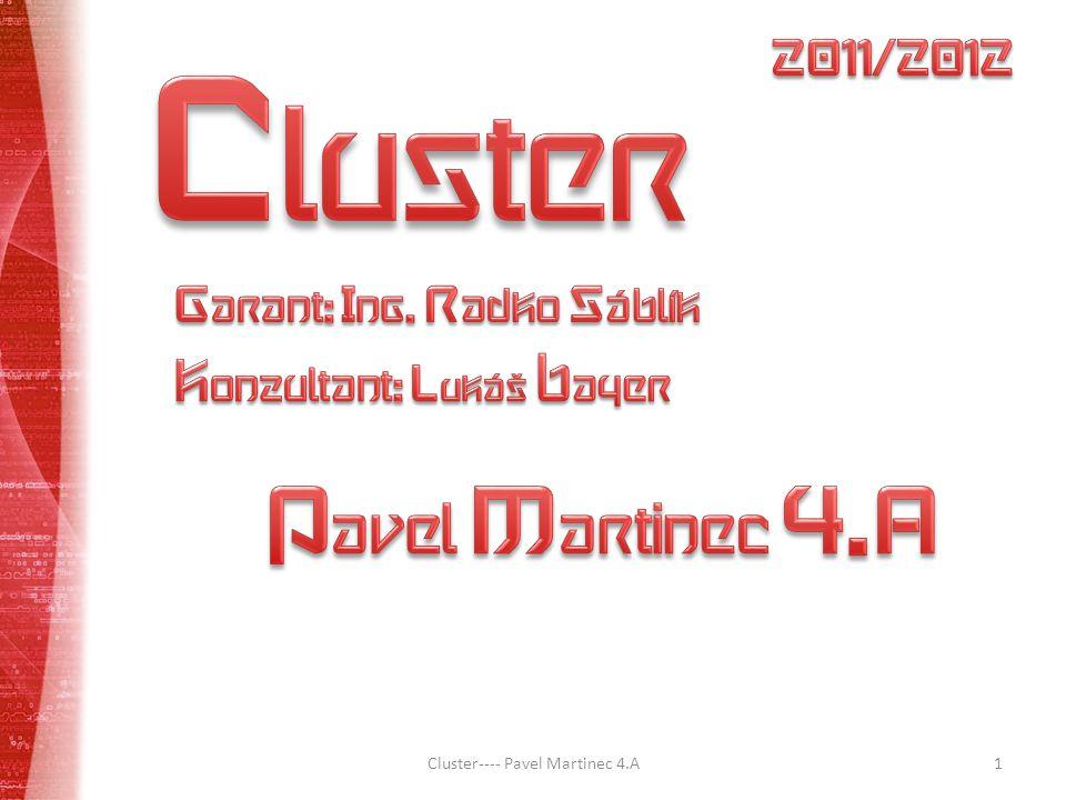 Z Z Vyskytlé problémy Výběr distribuce Výběr clusterovacího softwaru Struktura zapojení Cluster---- Pavel Martinec 4.A12
