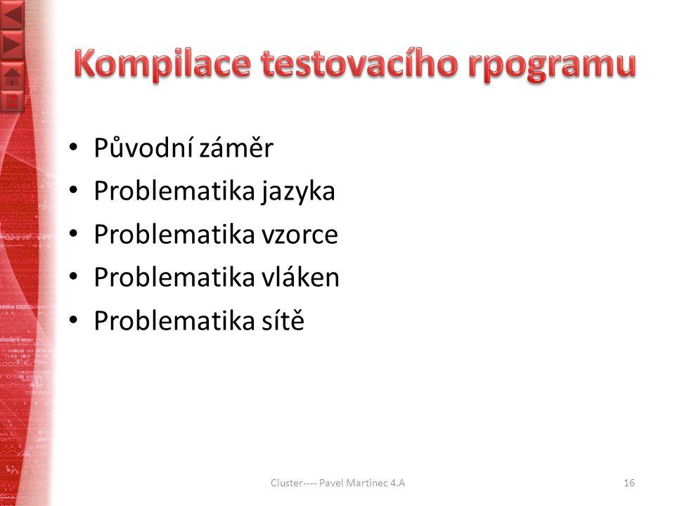 Z Z Původní záměr Problematika jazyka Problematika vzorce Problematika vláken Problematika sítě Cluster---- Pavel Martinec 4.A16