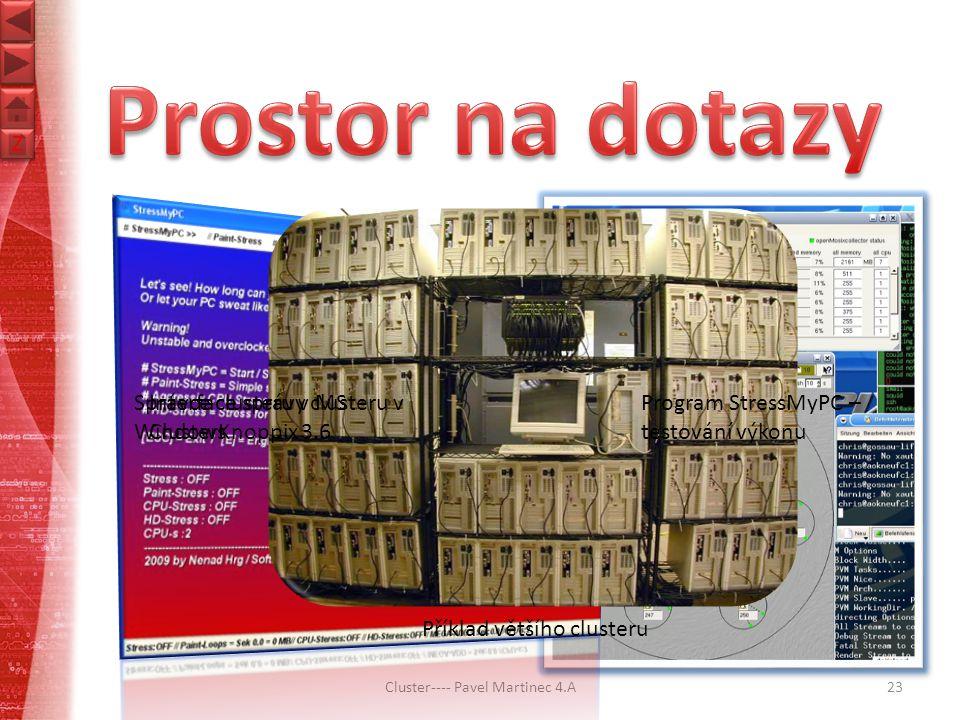 Z Z Cluster---- Pavel Martinec 4.A23 Program StressMyPC – testování výkonu Správce clusteru v MS Windows Interface správy clusteru v ClusterKnoppix 3.6 Příklad většího clusteru