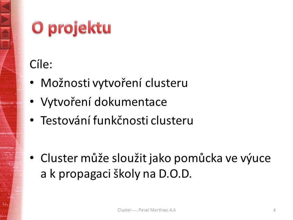 Z Z Cíle: Možnosti vytvoření clusteru Vytvoření dokumentace Testování funkčnosti clusteru Cluster může sloužit jako pomůcka ve výuce a k propagaci školy na D.O.D.
