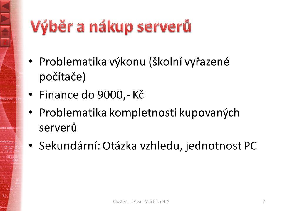 Z Z Problematika výkonu (školní vyřazené počítače) Finance do 9000,- Kč Problematika kompletnosti kupovaných serverů Sekundární: Otázka vzhledu, jednotnost PC Cluster---- Pavel Martinec 4.A7