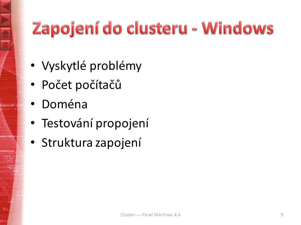 Z Z Vyskytlé problémy Počet počítačů Doména Testování propojení Struktura zapojení Cluster---- Pavel Martinec 4.A9