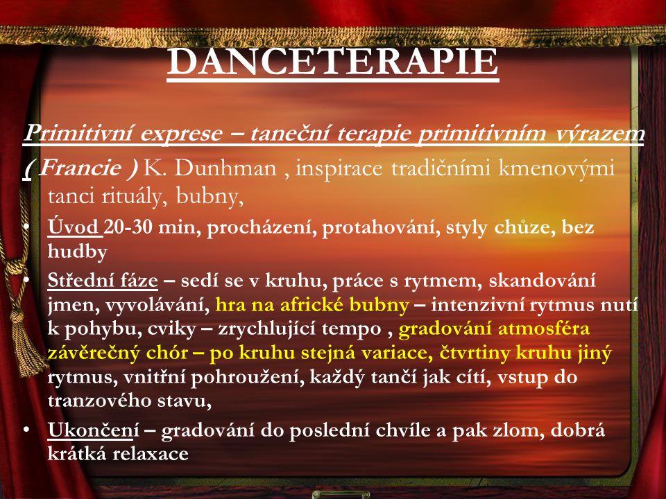 DANCETERAPIE Primitivní exprese – taneční terapie primitivním výrazem ( Francie ) K. Dunhman, inspirace tradičními kmenovými tanci rituály, bubny, Úvo
