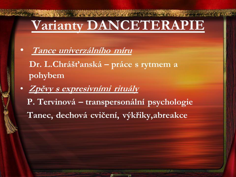 Varianty DANCETERAPIE Tance univerzálního míru Dr. L.Chrášťanská – práce s rytmem a pohybem Zpěvy s expresivními rituály P. Tervinová – transpersonáln