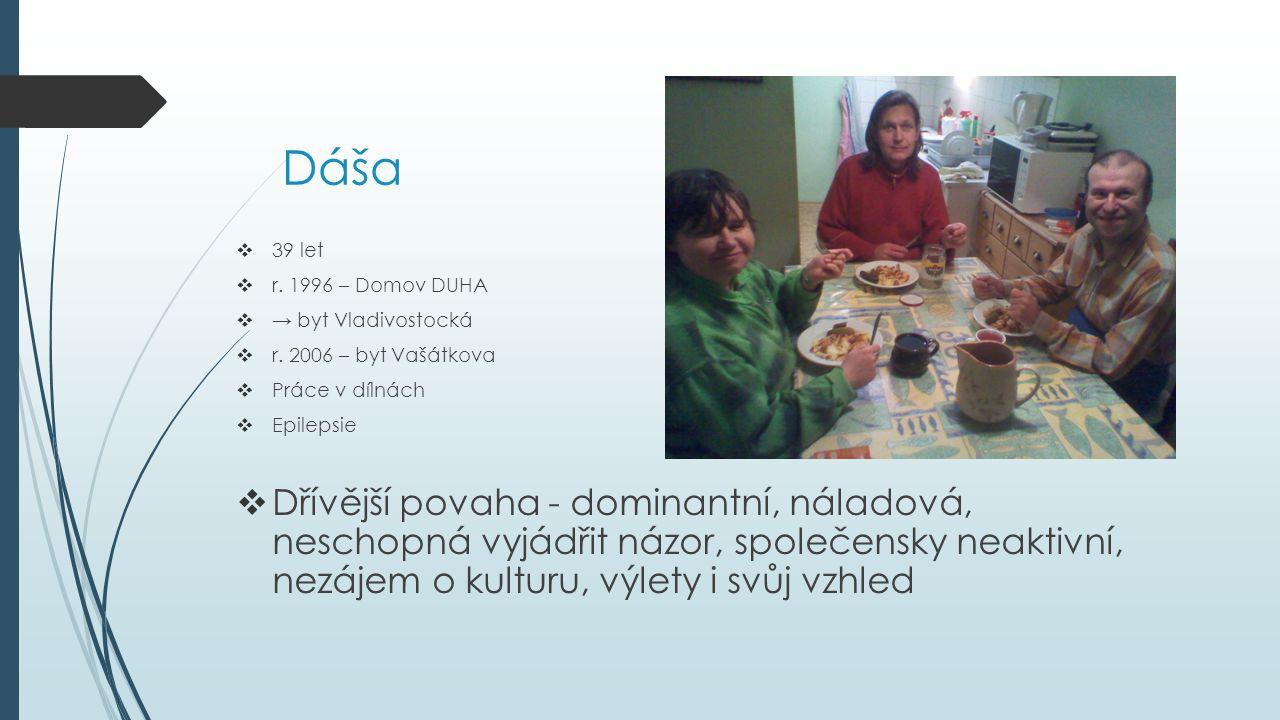 Dáša  39 let  r. 1996 – Domov DUHA  → byt Vladivostocká  r. 2006 – byt Vašátkova  Práce v dílnách  Epilepsie  Dřívější povaha - dominantní, nál