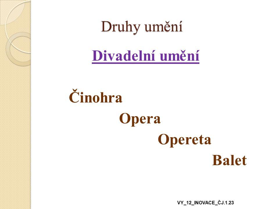 Druhy umění Druhy umění Divadelní umění Činohra Opera Opereta Balet VY_12_INOVACE_ČJ.1.23
