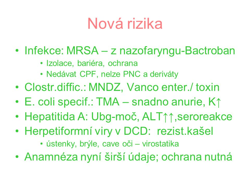 Nová rizika Chřipka: non H5N1 – pandemie .Plány +.