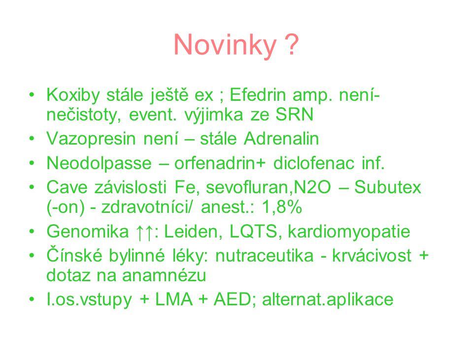 Novinky ? Koxiby stále ještě ex ; Efedrin amp. není- nečistoty, event. výjimka ze SRN Vazopresin není – stále Adrenalin Neodolpasse – orfenadrin+ dicl