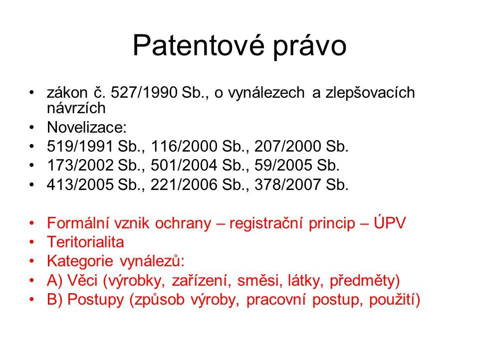 21 Patentové právo zákon č. 527/1990 Sb., o vynálezech a zlepšovacích návrzích Novelizace: 519/1991 Sb., 116/2000 Sb., 207/2000 Sb. 173/2002 Sb., 501/