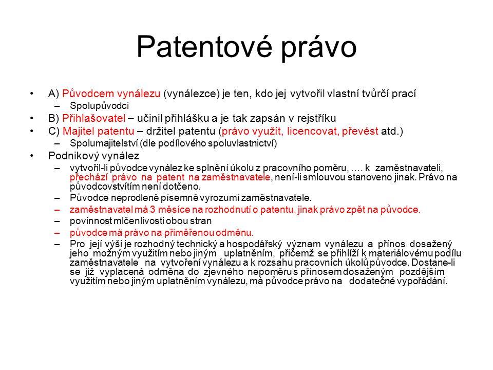 29 Patentové právo A) Původcem vynálezu (vynálezce) je ten, kdo jej vytvořil vlastní tvůrčí prací –Spolupůvodci B) Přihlašovatel – učinil přihlášku a