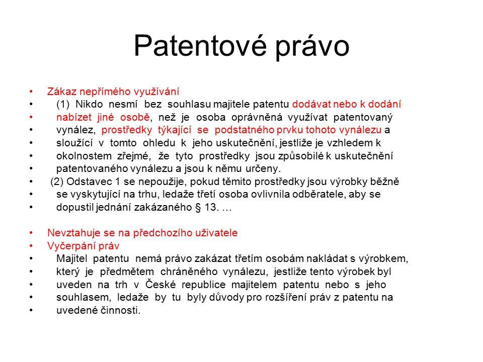 31 Patentové právo Zákaz nepřímého využívání (1) Nikdo nesmí bez souhlasu majitele patentu dodávat nebo k dodání nabízet jiné osobě, než je osoba oprá