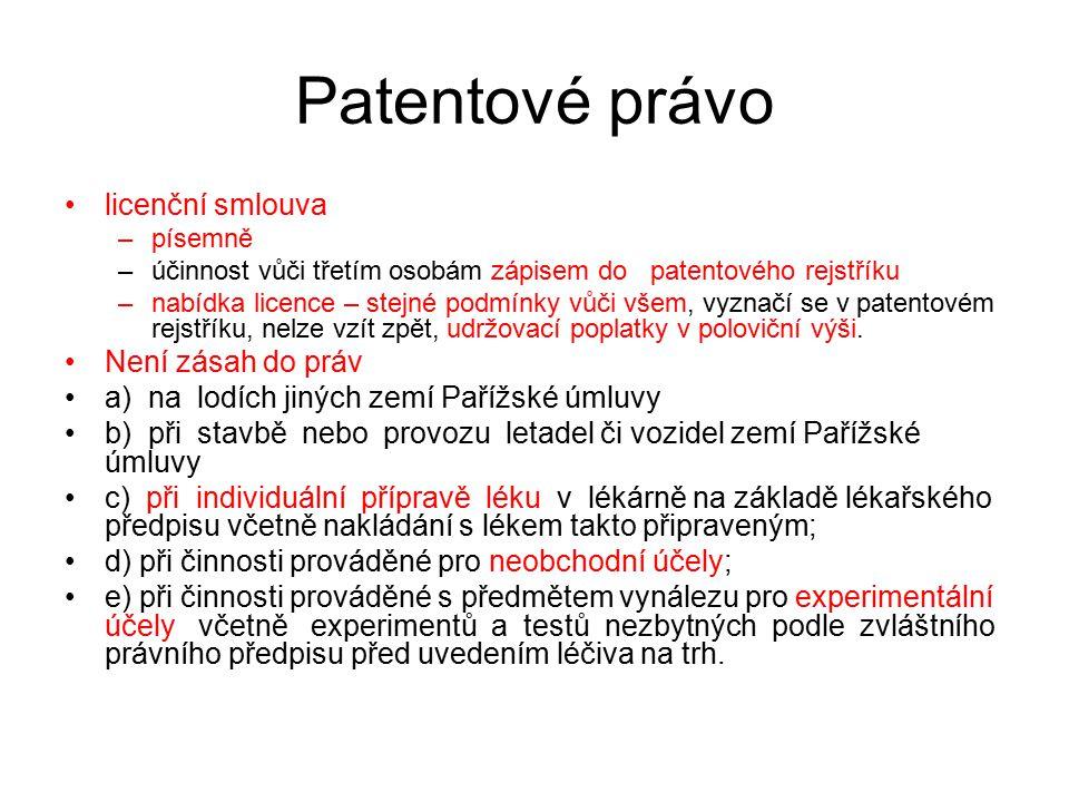 32 Patentové právo licenční smlouva –písemně –účinnost vůči třetím osobám zápisem do patentového rejstříku –nabídka licence – stejné podmínky vůči vše