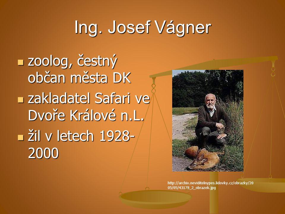 Ing. Josef Vágner zoolog, čestný občan města DK zoolog, čestný občan města DK zakladatel Safari ve Dvoře Králové n.L. zakladatel Safari ve Dvoře Králo