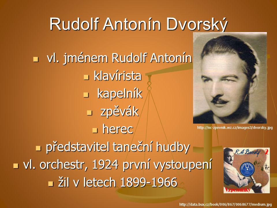 Rudolf Antonín Dvorský vl. jménem Rudolf Antonín vl. jménem Rudolf Antonín klavírista klavírista kapelník kapelník zpěvák zpěvák herec herec představi