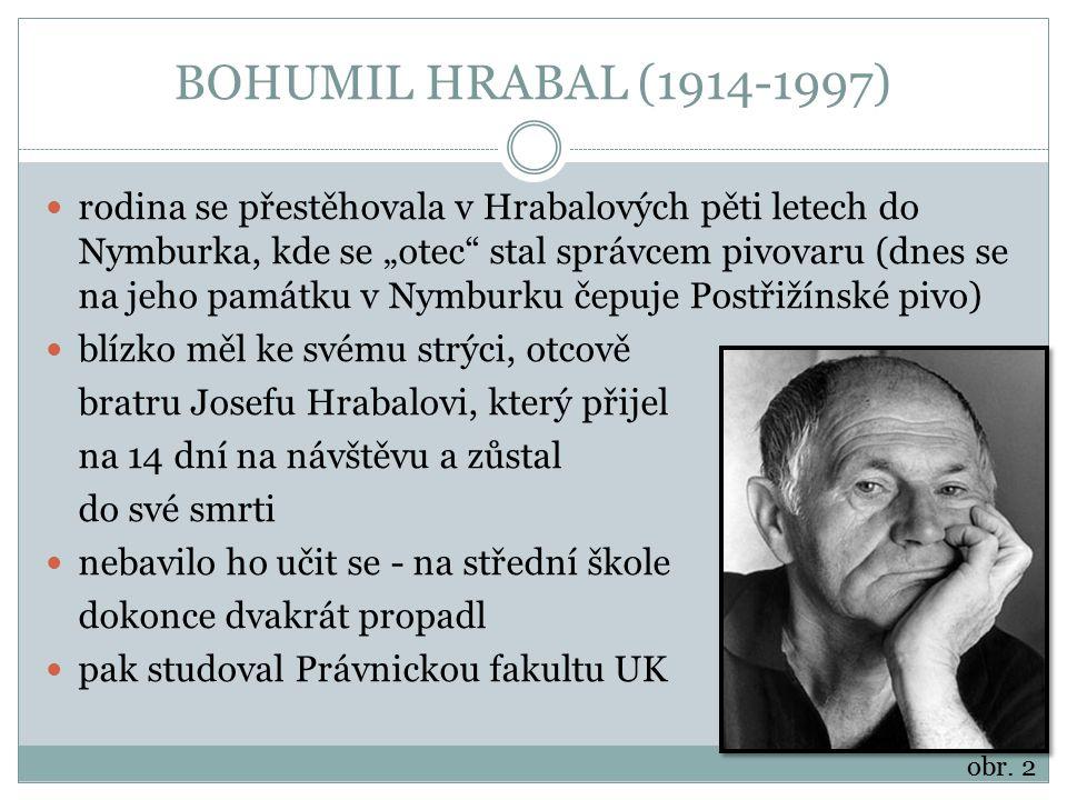 """BOHUMIL HRABAL (1914-1997) rodina se přestěhovala v Hrabalových pěti letech do Nymburka, kde se """"otec"""" stal správcem pivovaru (dnes se na jeho památku"""