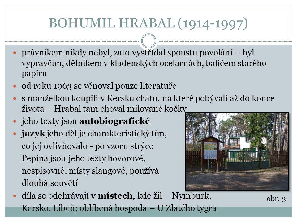 BOHUMIL HRABAL (1914-1997) právníkem nikdy nebyl, zato vystřídal spoustu povolání – byl výpravčím, dělníkem v kladenských ocelárnách, baličem starého