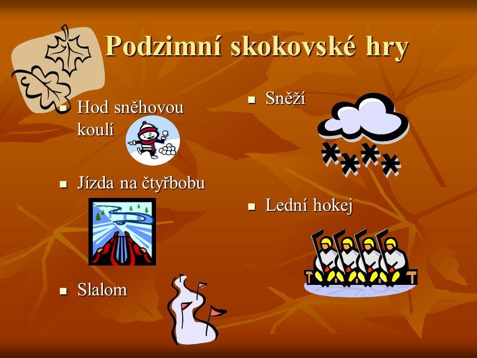 Podzimní skokovské hry Podzimní skokovské hry Hod sněhovou koulí Hod sněhovou koulí Jízda na čtyřbobu Jízda na čtyřbobu Slalom Slalom Sněží Sněží Lední hokej Lední hokej