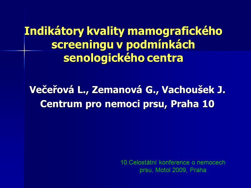Indikátory kvality mamografického screeningu v podmínkách senologického centra Večeřová L., Zemanová G., Vachoušek J.