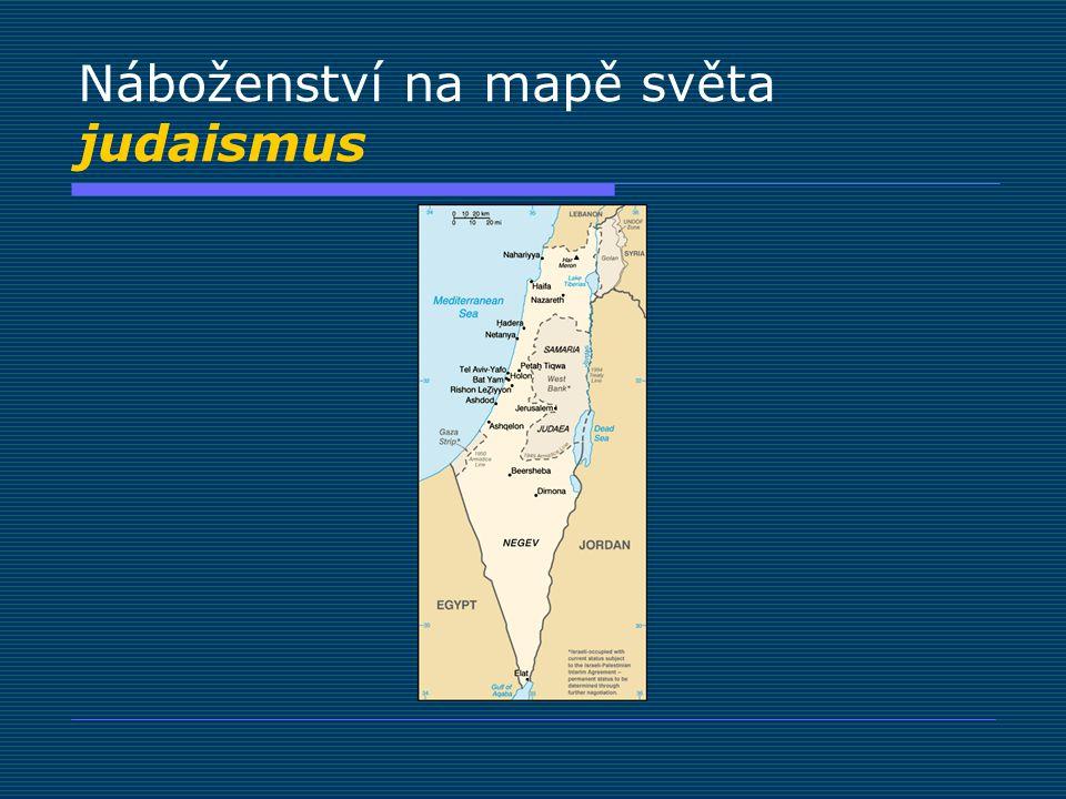 Náboženství na mapě světa judaismus