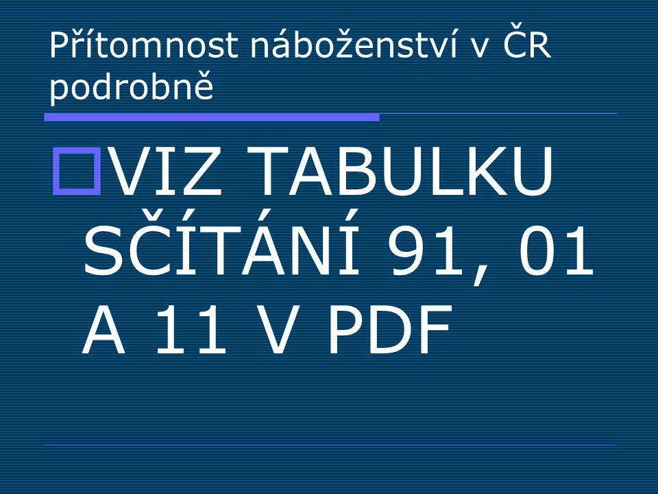 Přítomnost náboženství v ČR podrobně  VIZ TABULKU SČÍTÁNÍ 91, 01 A 11 V PDF