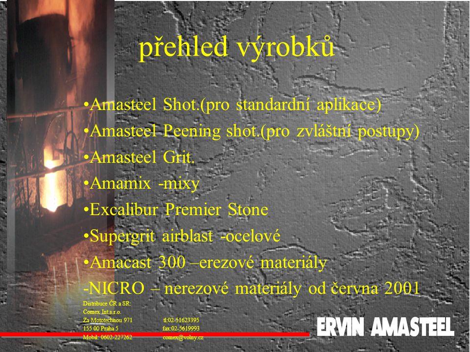 přehled výrobků Amasteel Shot.(pro standardní aplikace) Amasteel Peening shot.(pro zvláštní postupy) Amasteel Grit. Amamix -mixy Excalibur Premier Sto
