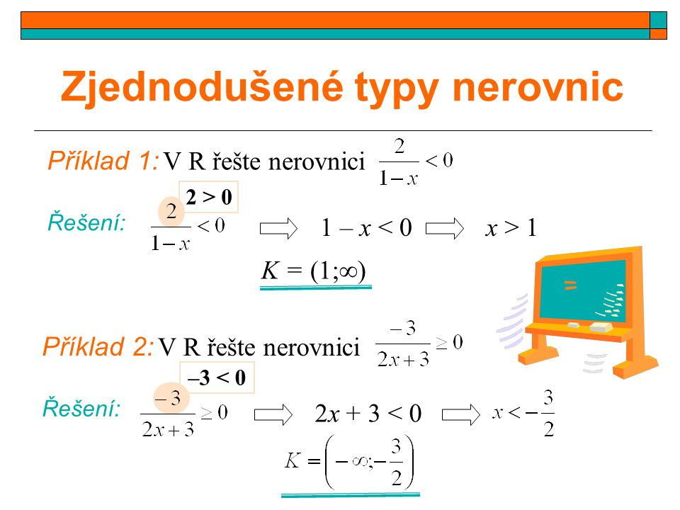 Zjednodušené typy nerovnic Příklad 1: V R řešte nerovnici Řešení: 2 > 0 1 – x < 0x > 1 K = (1;  ) Příklad 2: V R řešte nerovnici Řešení: –3 < 0 2x +