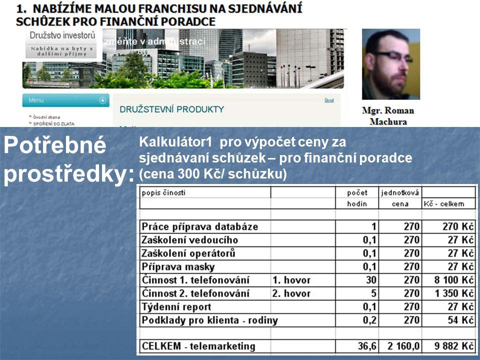 Kalkulátor1 pro výpočet ceny za sjednávaní schůzek – pro finanční poradce (cena 300 Kč/ schůzku) Potřebné prostředky: