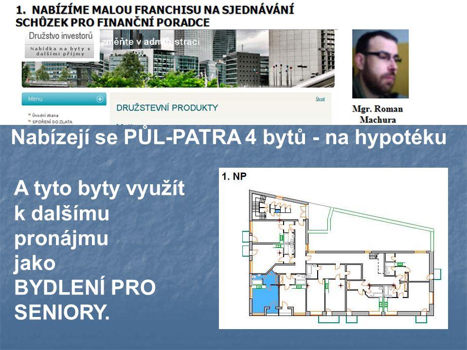 Nabízejí se PŮL-PATRA 4 bytů - na hypotéku A tyto byty využít k dalšímu pronájmu jako BYDLENÍ PRO SENIORY.