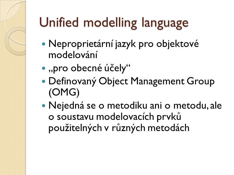 """Unified modelling language Neproprietární jazyk pro objektové modelování """"pro obecné účely Definovaný Object Management Group (OMG) Nejedná se o metodiku ani o metodu, ale o soustavu modelovacích prvků použitelných v různých metodách"""