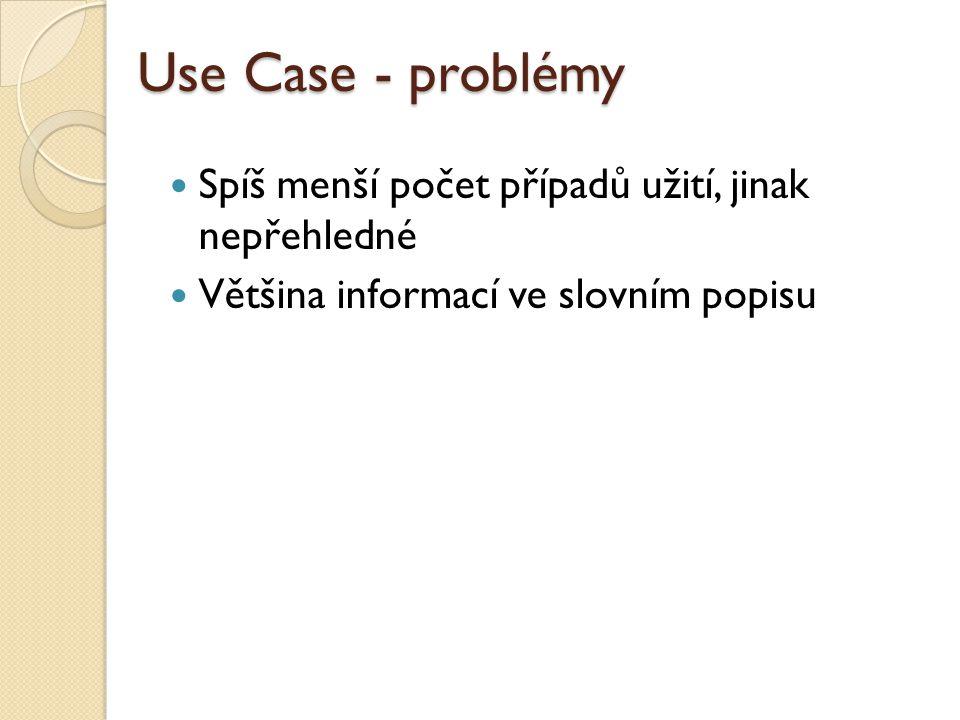 Use Case - problémy Spíš menší počet případů užití, jinak nepřehledné Většina informací ve slovním popisu