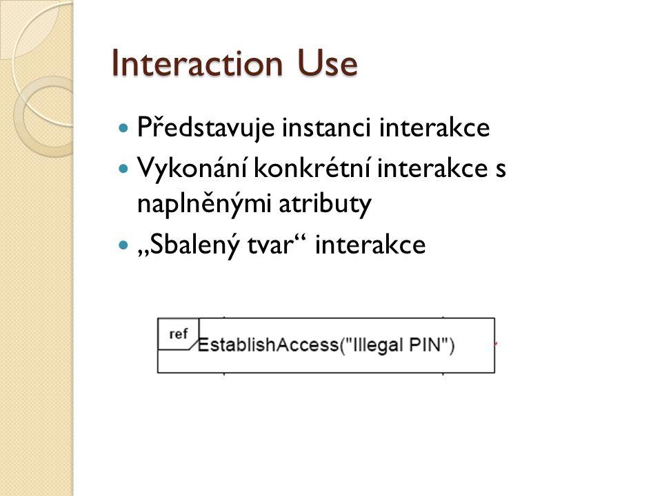 """Interaction Use Představuje instanci interakce Vykonání konkrétní interakce s naplněnými atributy """"Sbalený tvar interakce"""