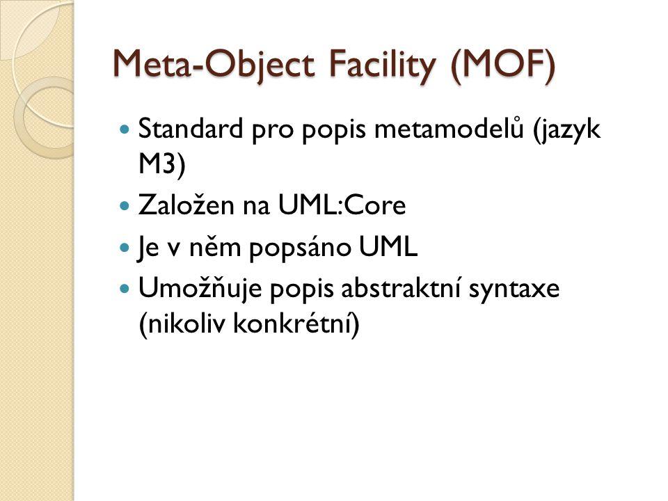 Meta-Object Facility (MOF) Standard pro popis metamodelů (jazyk M3) Založen na UML:Core Je v něm popsáno UML Umožňuje popis abstraktní syntaxe (nikoliv konkrétní)