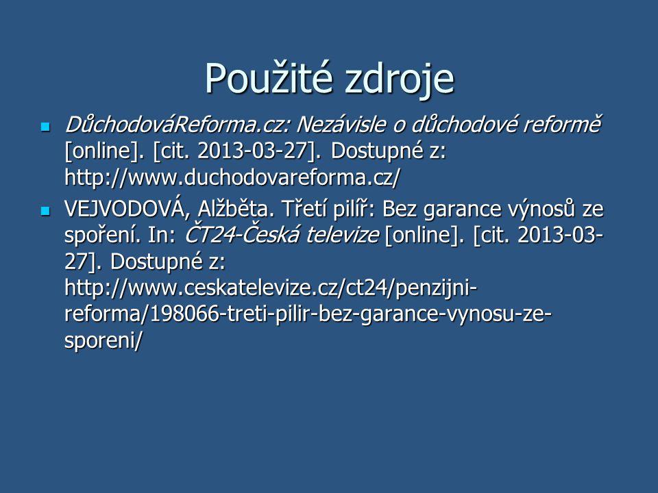 Použité zdroje DůchodováReforma.cz: Nezávisle o důchodové reformě [online]. [cit. 2013-03-27]. Dostupné z: http://www.duchodovareforma.cz/ DůchodováRe