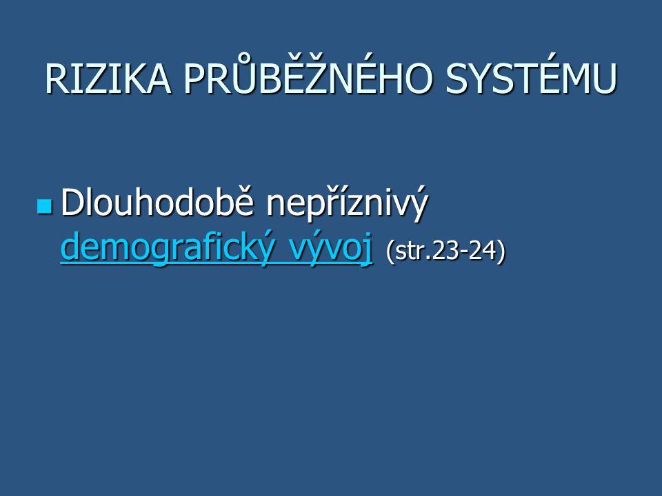 RIZIKA PRŮBĚŽNÉHO SYSTÉMU Dlouhodobě nepříznivý demografický vývoj (str.23-24) Dlouhodobě nepříznivý demografický vývoj (str.23-24) demografický vývoj demografický vývoj