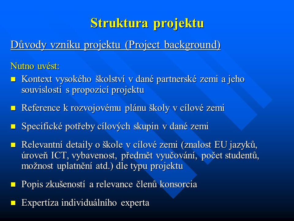 Struktura projektu Důvody vzniku projektu (Project background) Nutno uvést: Kontext vysokého školství v dané partnerské zemi a jeho souvislosti s prop