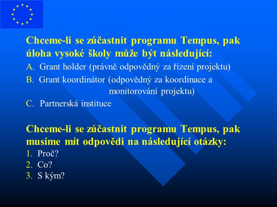 Chceme-li se zúčastnit programu Tempus, pak úloha vysoké školy může být následující: A. Grant holder (právně odpovědný za řízení projektu) B. Grant ko