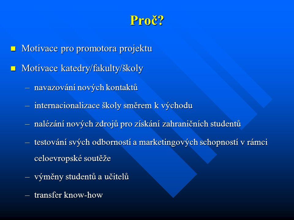 Proč? Motivace pro promotora projektu Motivace pro promotora projektu Motivace katedry/fakulty/školy Motivace katedry/fakulty/školy –navazování nových