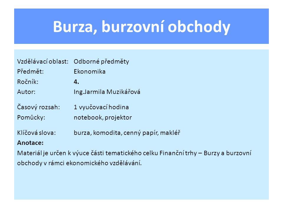 Burza, burzovní obchody Vzdělávací oblast:Odborné předměty Předmět:Ekonomika Ročník:4.