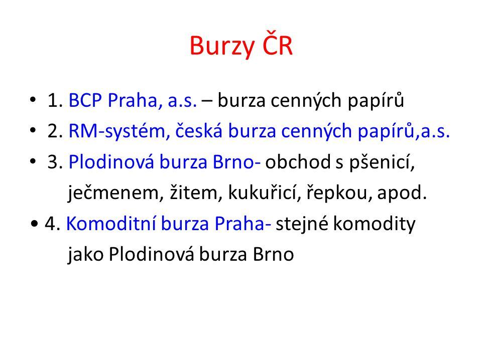 Burzy ČR 1. BCP Praha, a.s. – burza cenných papírů 2.