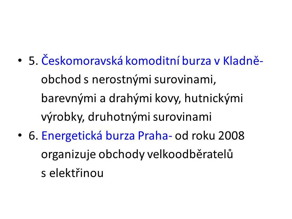 5. Českomoravská komoditní burza v Kladně- obchod s nerostnými surovinami, barevnými a drahými kovy, hutnickými výrobky, druhotnými surovinami 6. Ener