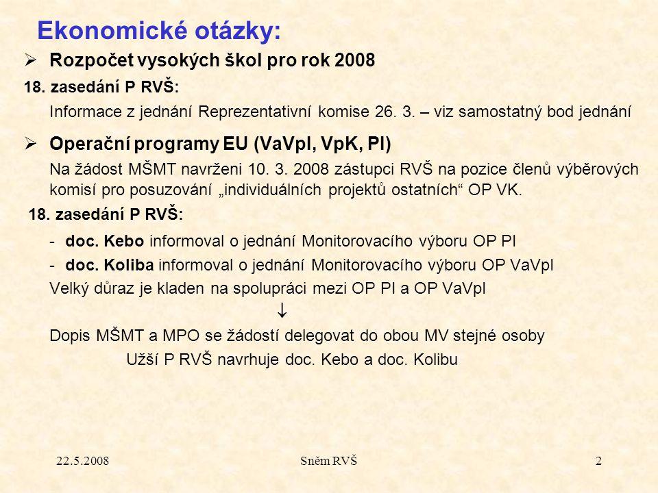 22.5.2008Sněm RVŠ2  Rozpočet vysokých škol pro rok 2008 18. zasedání P RVŠ: Informace z jednání Reprezentativní komise 26. 3. – viz samostatný bod je