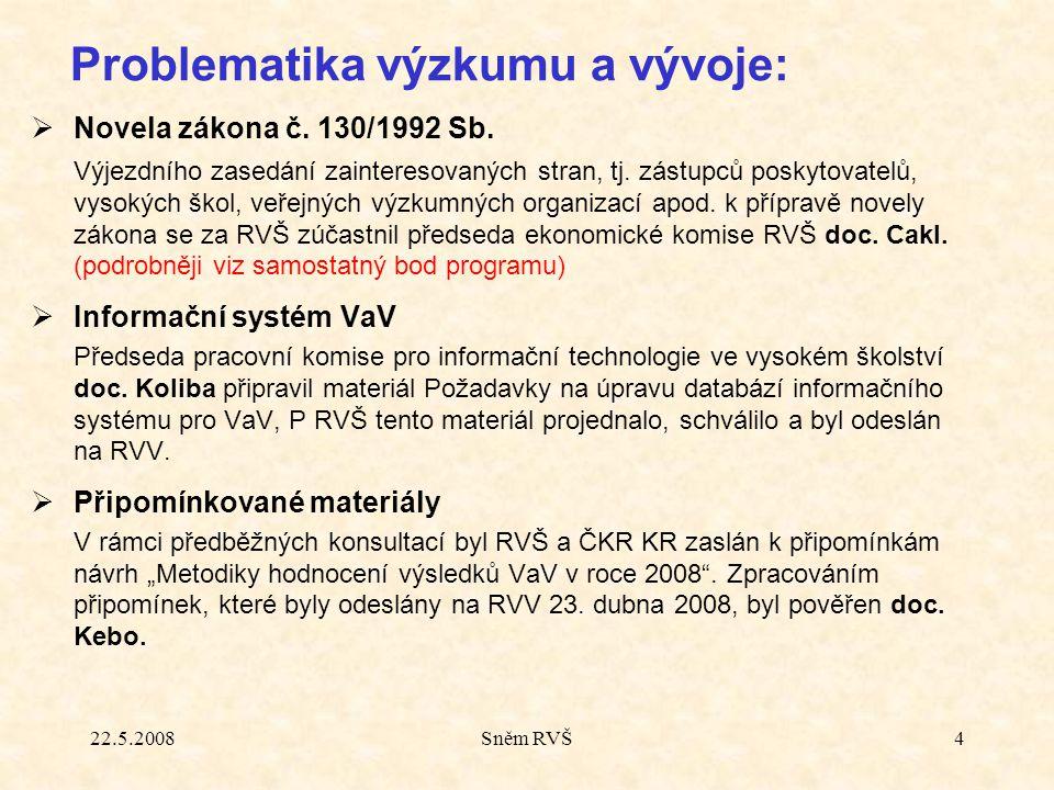 22.5.2008Sněm RVŠ4  Novela zákona č. 130/1992 Sb. Výjezdního zasedání zainteresovaných stran, tj. zástupců poskytovatelů, vysokých škol, veřejných vý