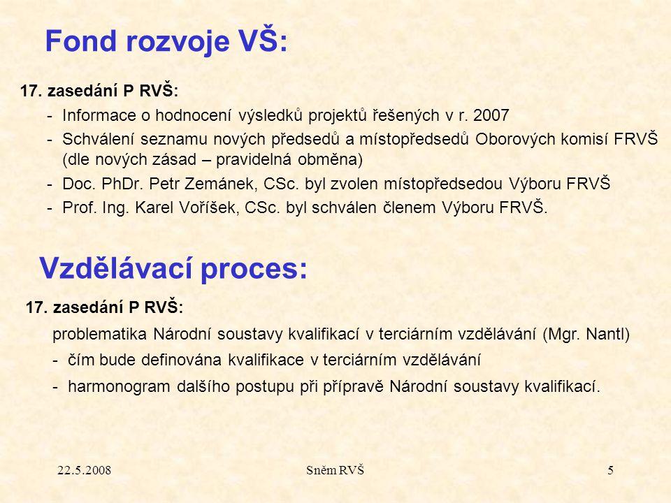 22.5.2008Sněm RVŠ5 17. zasedání P RVŠ: -Informace o hodnocení výsledků projektů řešených v r. 2007 -Schválení seznamu nových předsedů a místopředsedů