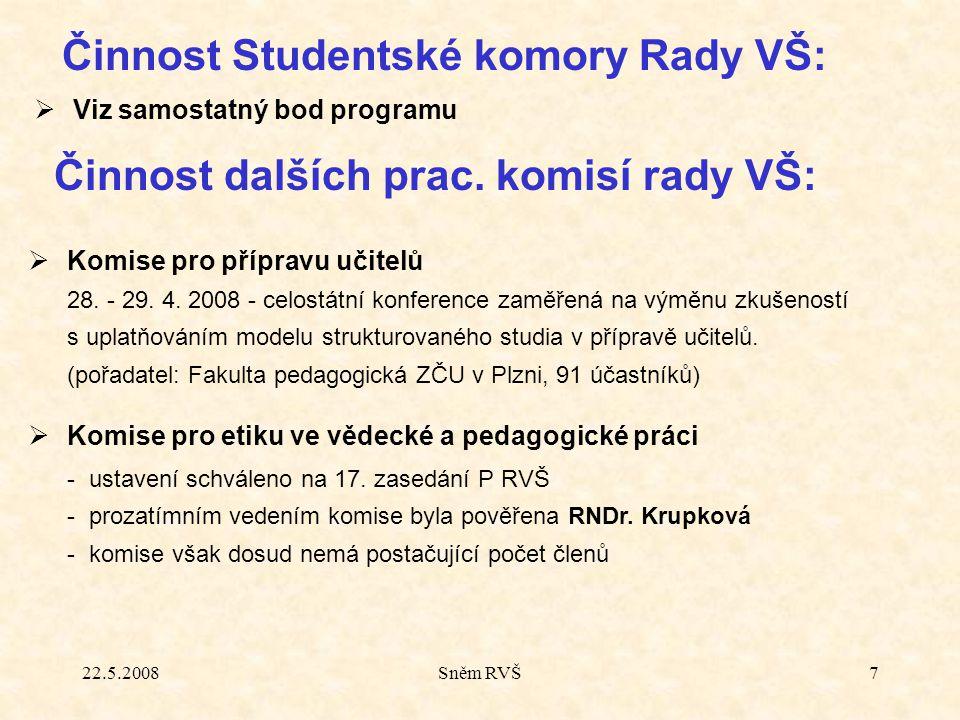 22.5.2008Sněm RVŠ7  Viz samostatný bod programu Činnost Studentské komory Rady VŠ: Činnost dalších prac. komisí rady VŠ:  Komise pro přípravu učitel