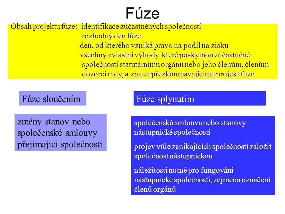 Fúze Obsah projektu fúze: identifikace zúčastněných společností rozhodný den fúze den, od kterého vzniká právo na podíl na zisku všechny zvláštní výho