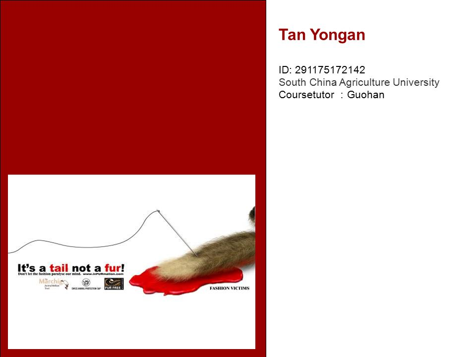 Tan Yongan ID: 291175172142 South China Agriculture University Coursetutor : Guohan