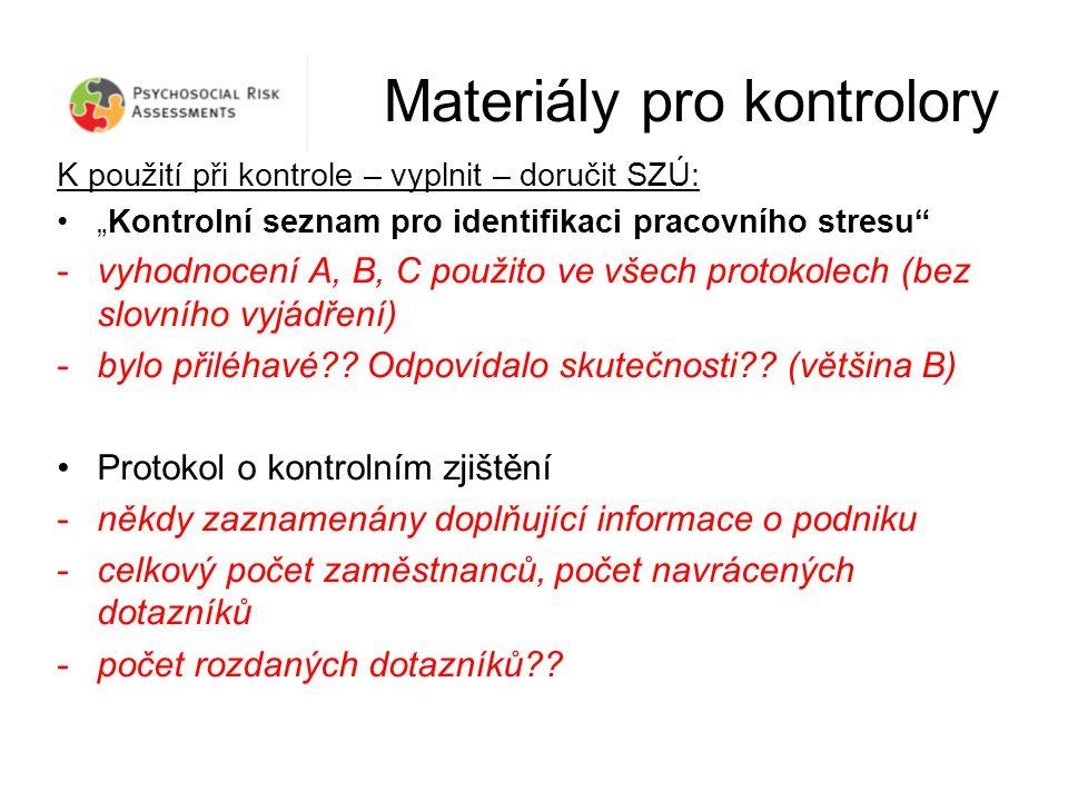 """Materiály pro kontrolory K použití při kontrole – vyplnit – doručit SZÚ: """"Kontrolní seznam pro identifikaci pracovního stresu -vyhodnocení A, B, C použito ve všech protokolech (bez slovního vyjádření) -bylo přiléhavé ."""